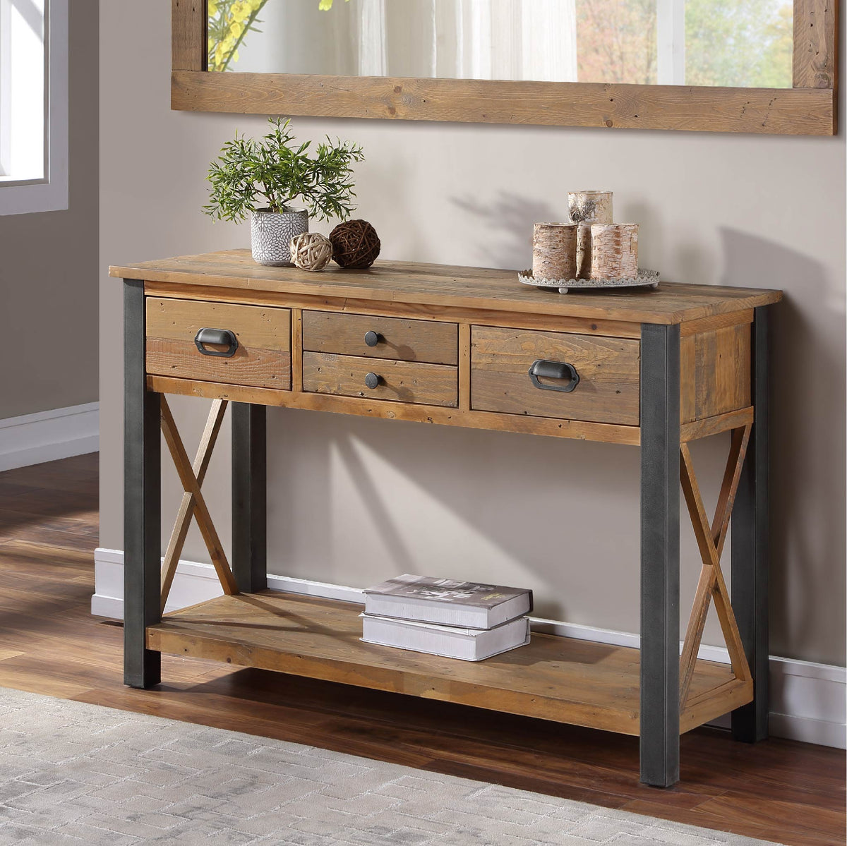 Side view of Urban Elegance Reclaimed Wood Large Console Table
