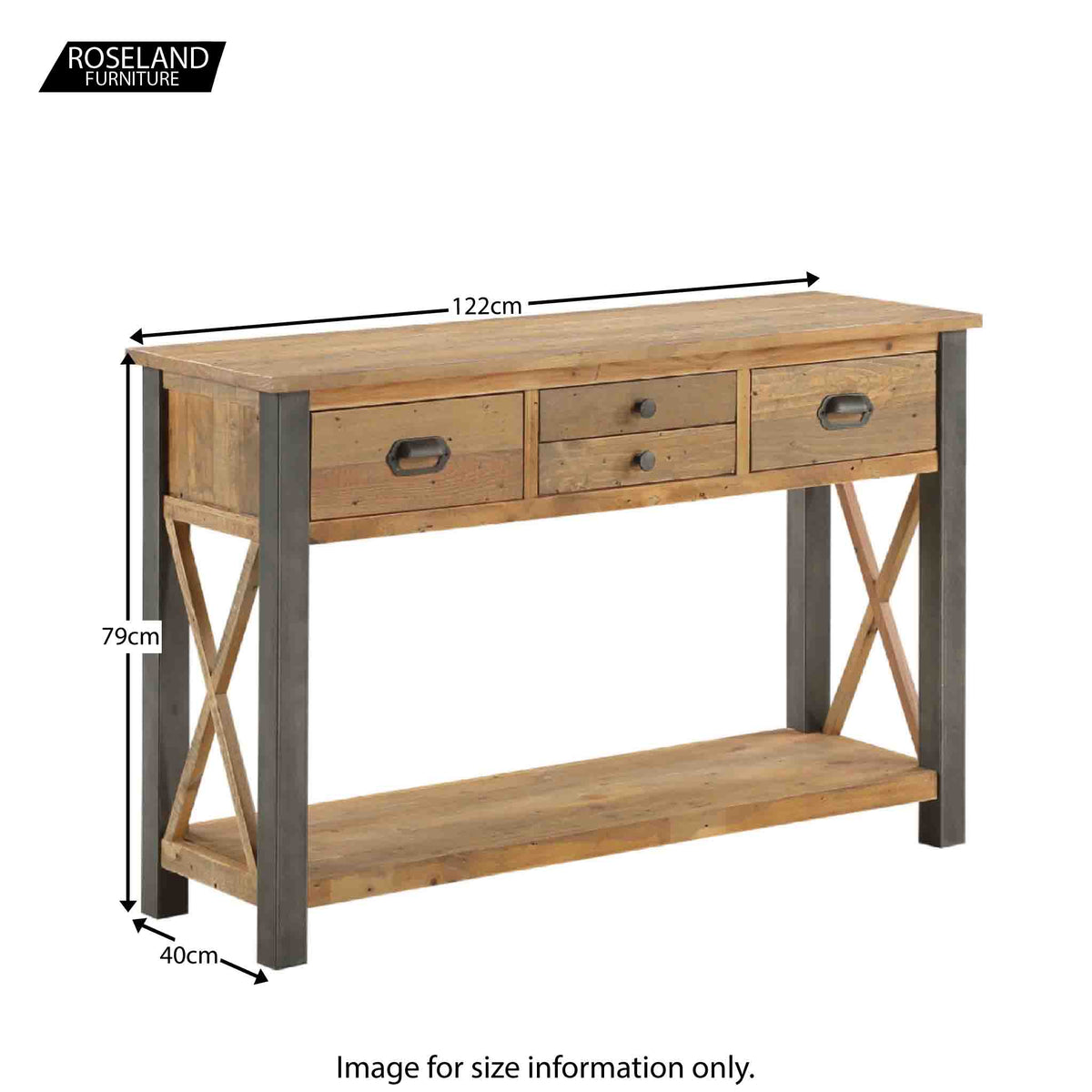 Dimensions for Urban Elegance Reclaimed Wood Large Console Table 122 x 79 x 40 cm
