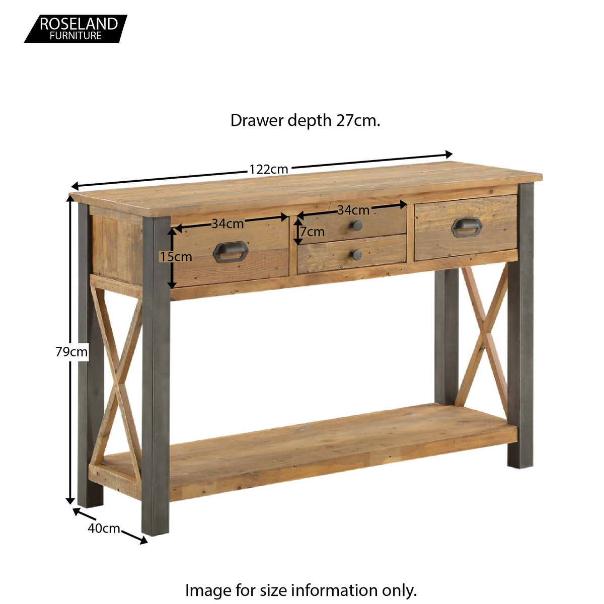 Urban Elegance Reclaimed Wood Large Console Table - Size Guide