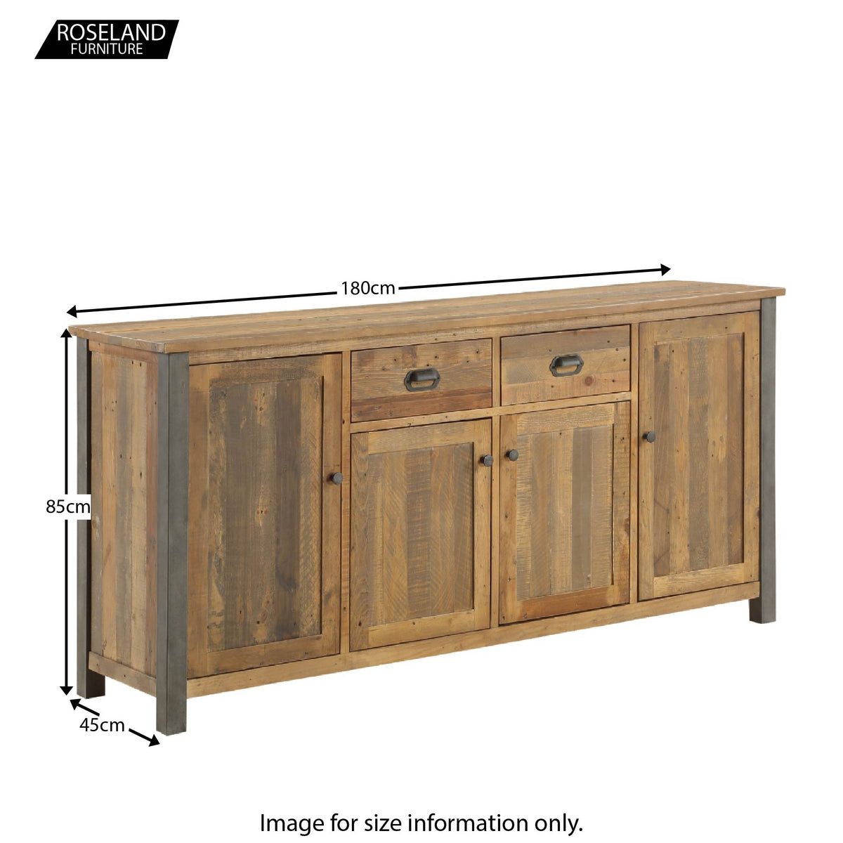 Dimensions of Urban Elegance Reclaimed Wood Extra Large Sideboard