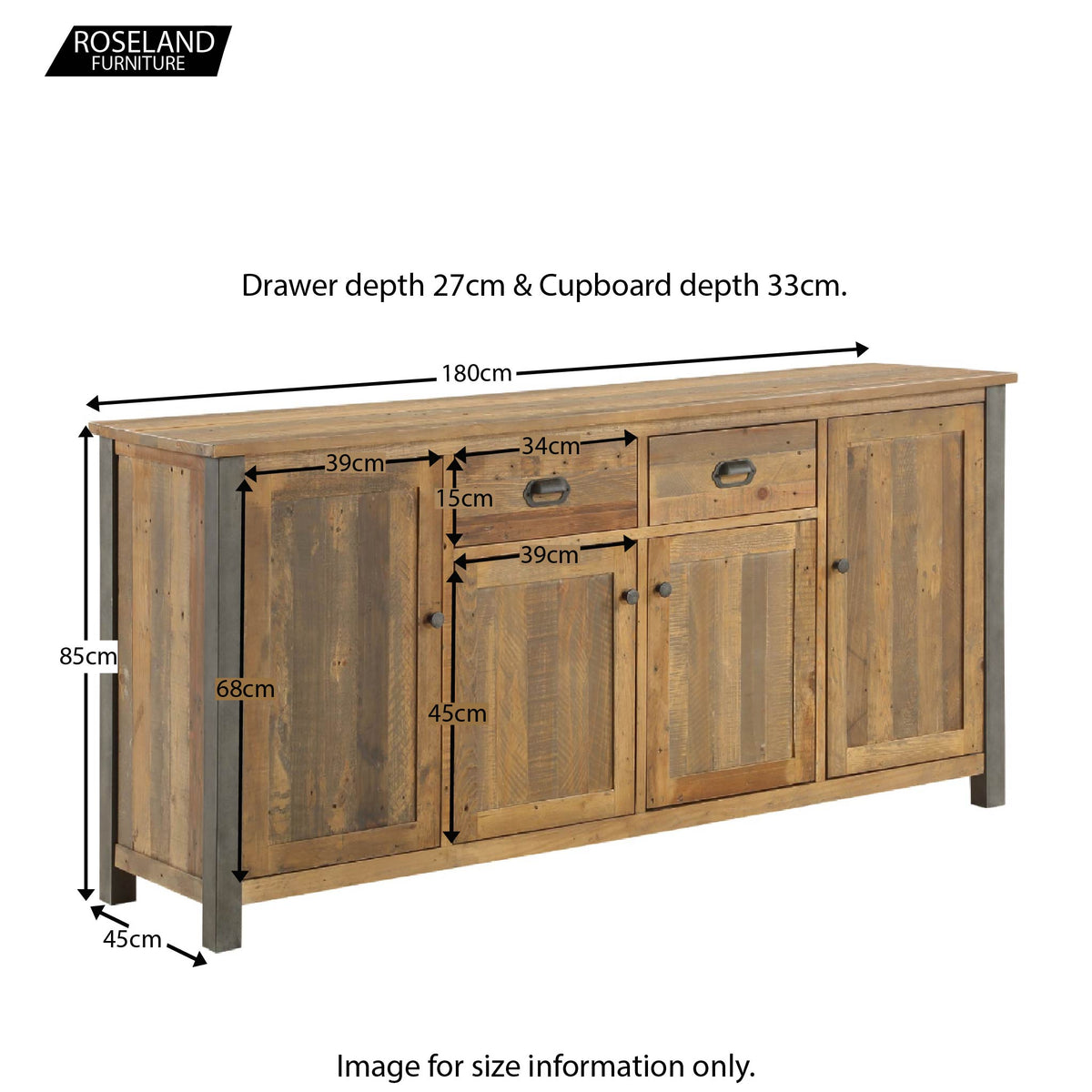 Urban Elegance Reclaimed Wood Extra Large Sideboard - Size Guide