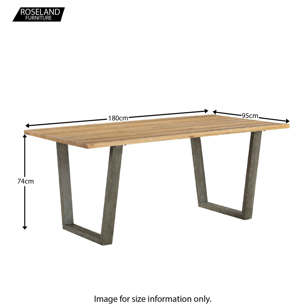 Dimensions for  Urban Elegance Reclaimed Wood Dining Table