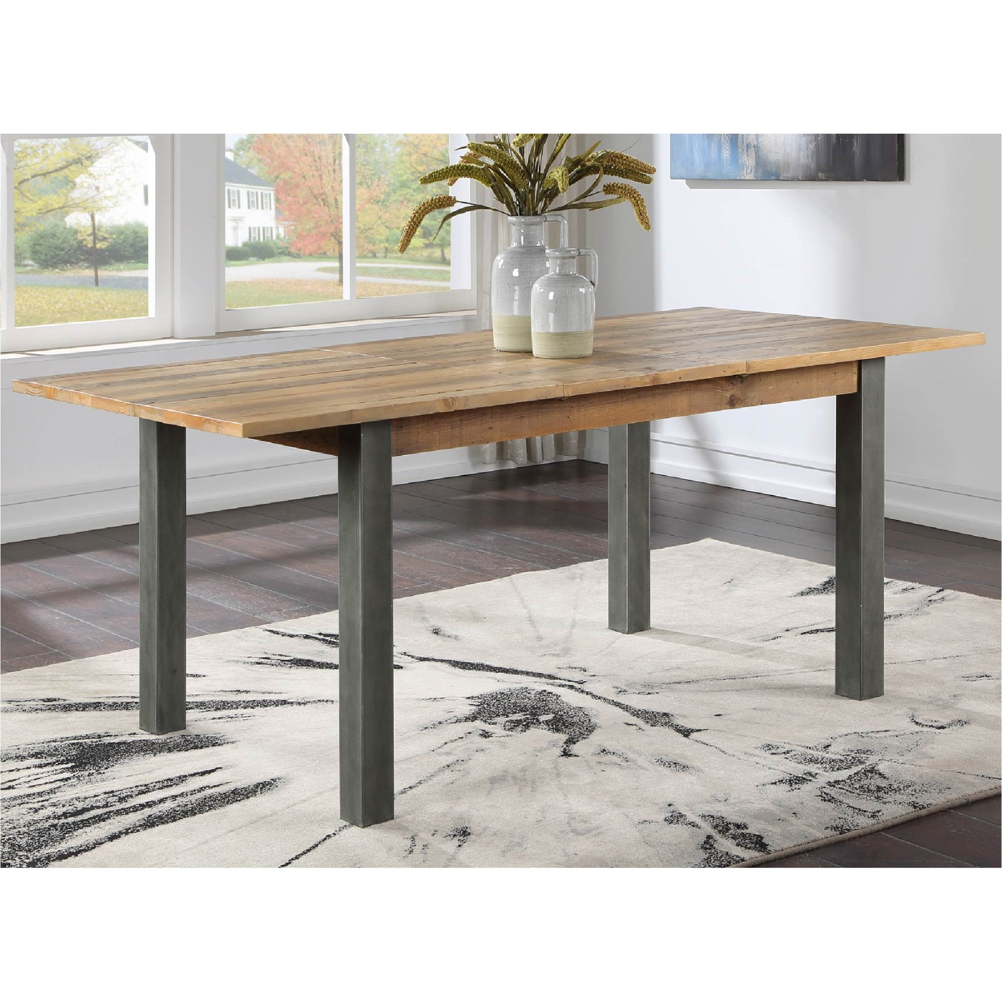 Urban Elegance Reclaimed Wood Extended Dining Table