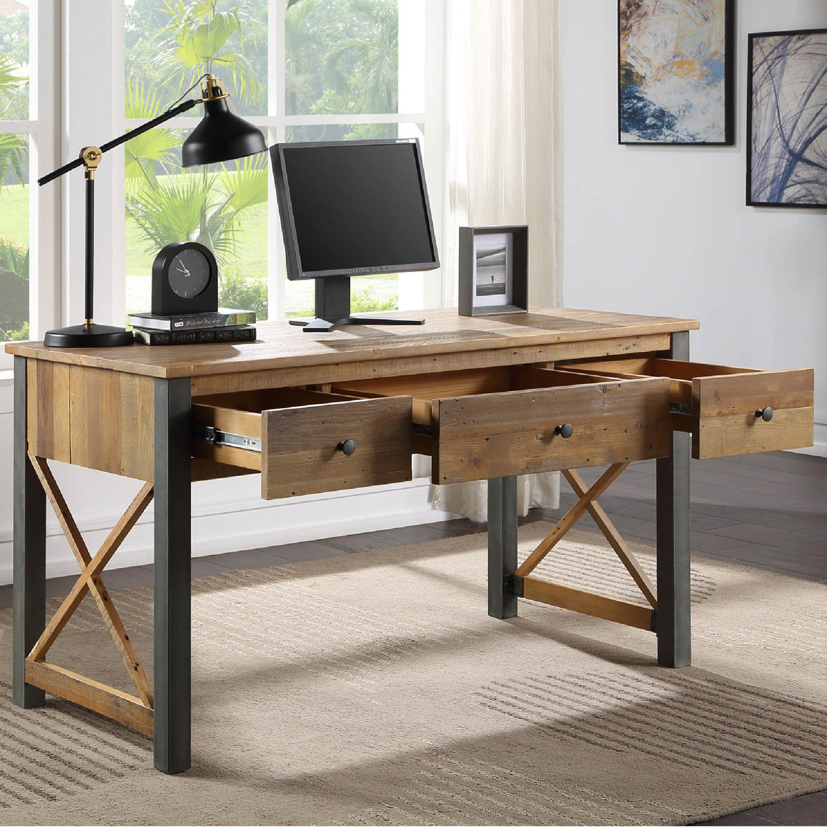 Open drawer view of  Urban Elegance Reclaimed Wood home Office Desk