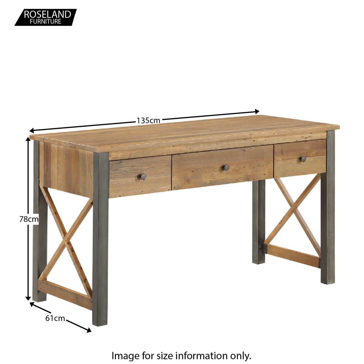 Dimensions for  Urban Elegance Reclaimed Wood home Office Desk 78 x 135 x 61 cm