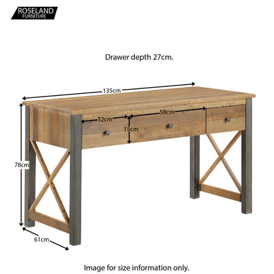 Urban Elegance Reclaimed Wood home Office Desk - Size Guide