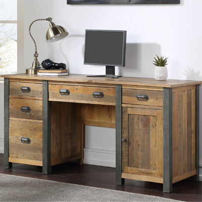 Urban Elegance Reclaimed Wood Large Home Office Desk