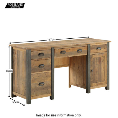 Dimensions for Urban Elegance Reclaimed Wood Large Home Office Desk 80 x 157 x 55 cm
