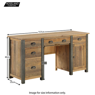 Urban Elegance Reclaimed Wood Large Home Office Desk - Size Guide
