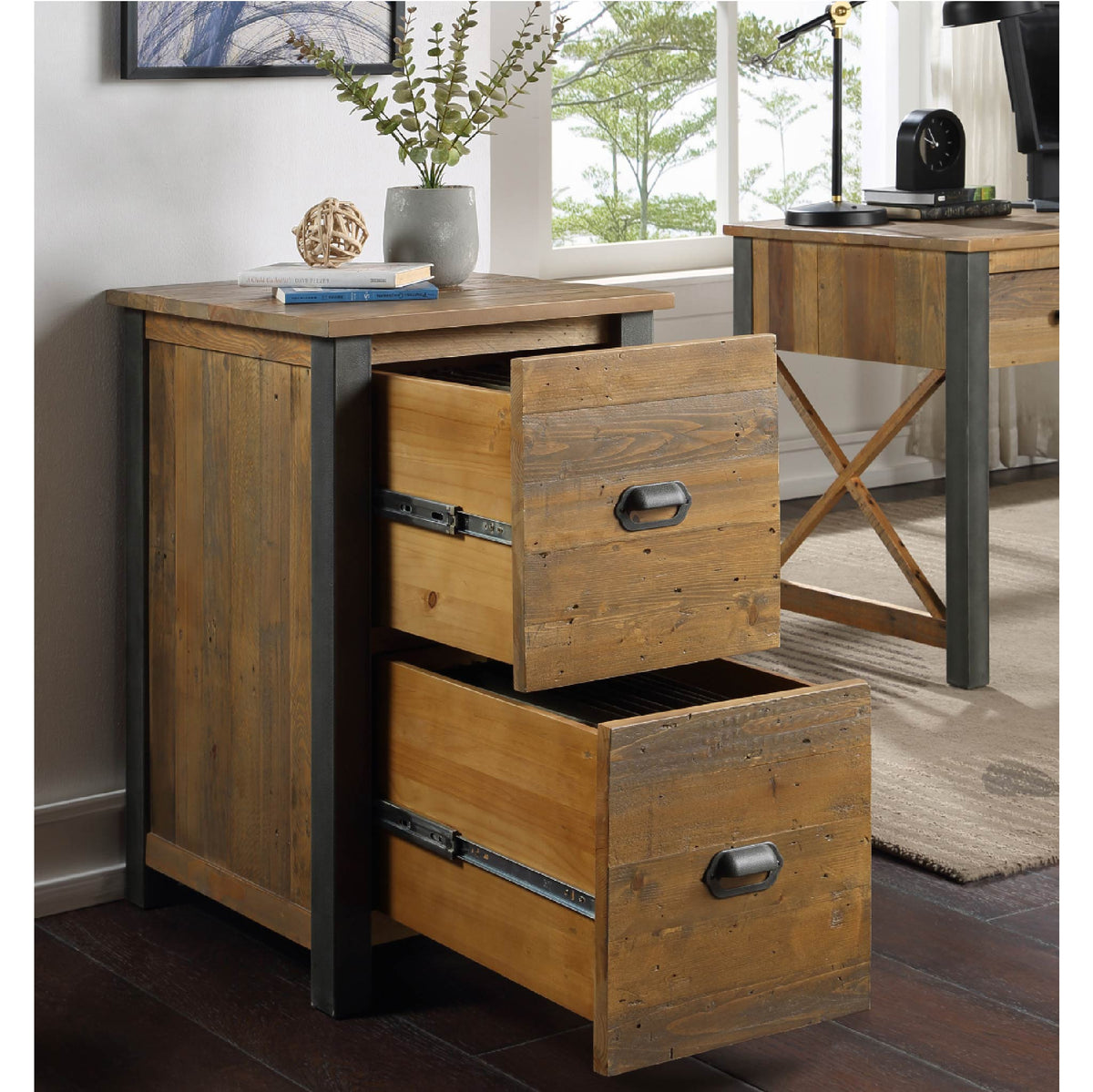 Open Drawer view of Urban Elegance Reclaimed Wood Office Filing Cabinet