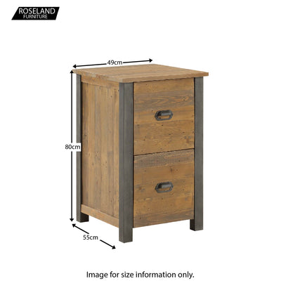 Dimensions for Urban Elegance Reclaimed Wood Office Filing Cabinet 80 x 49 x 55 cm