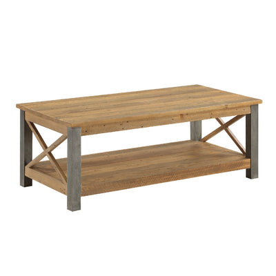 Urban Elegance Industrial Reclaimed Wood Coffee Table  on white background