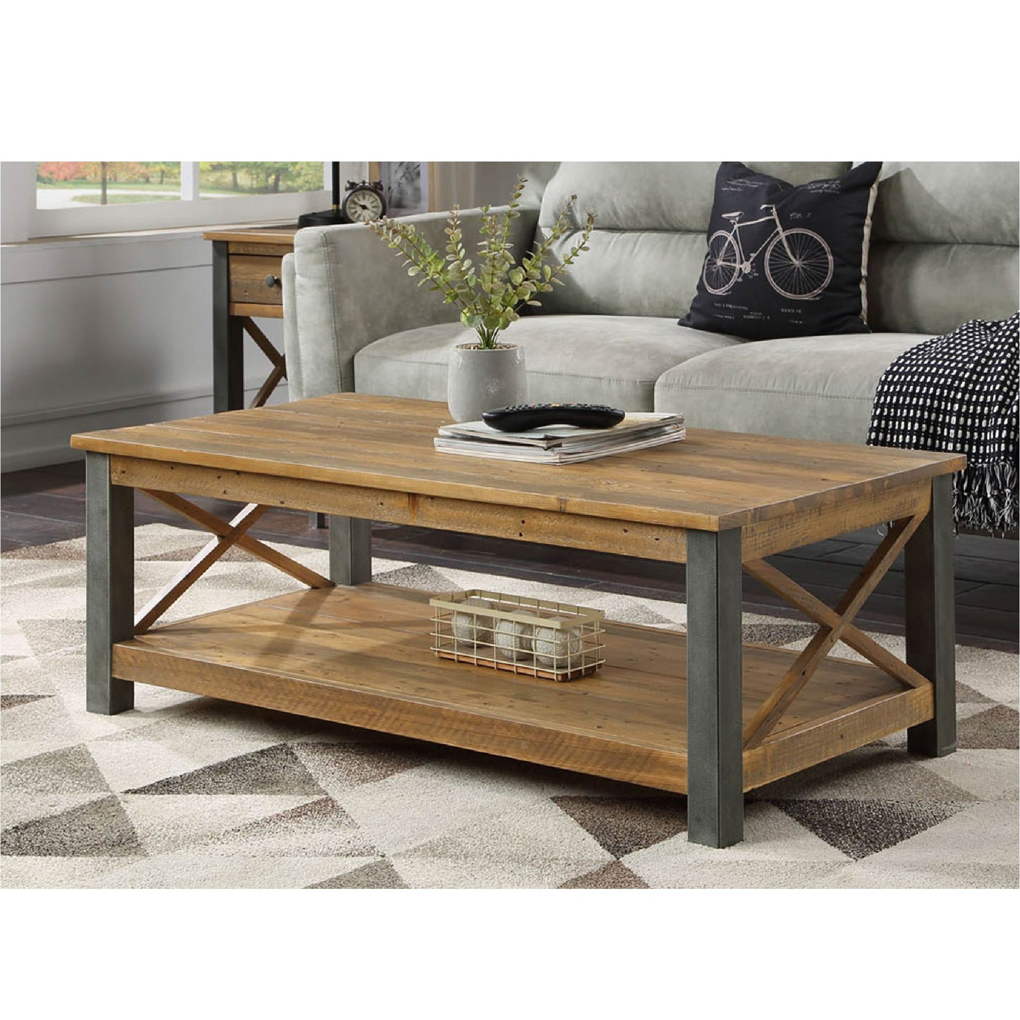 Urban Elegance Industrial Reclaimed Wood Coffee Table