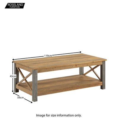 Dimensions for Urban Elegance Industrial Reclaimed Wood Coffee Table  43 x 119 x 59 cm