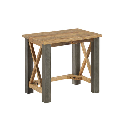 Urban Elegance Reclaimed Wood Side Lamp Table on white background
