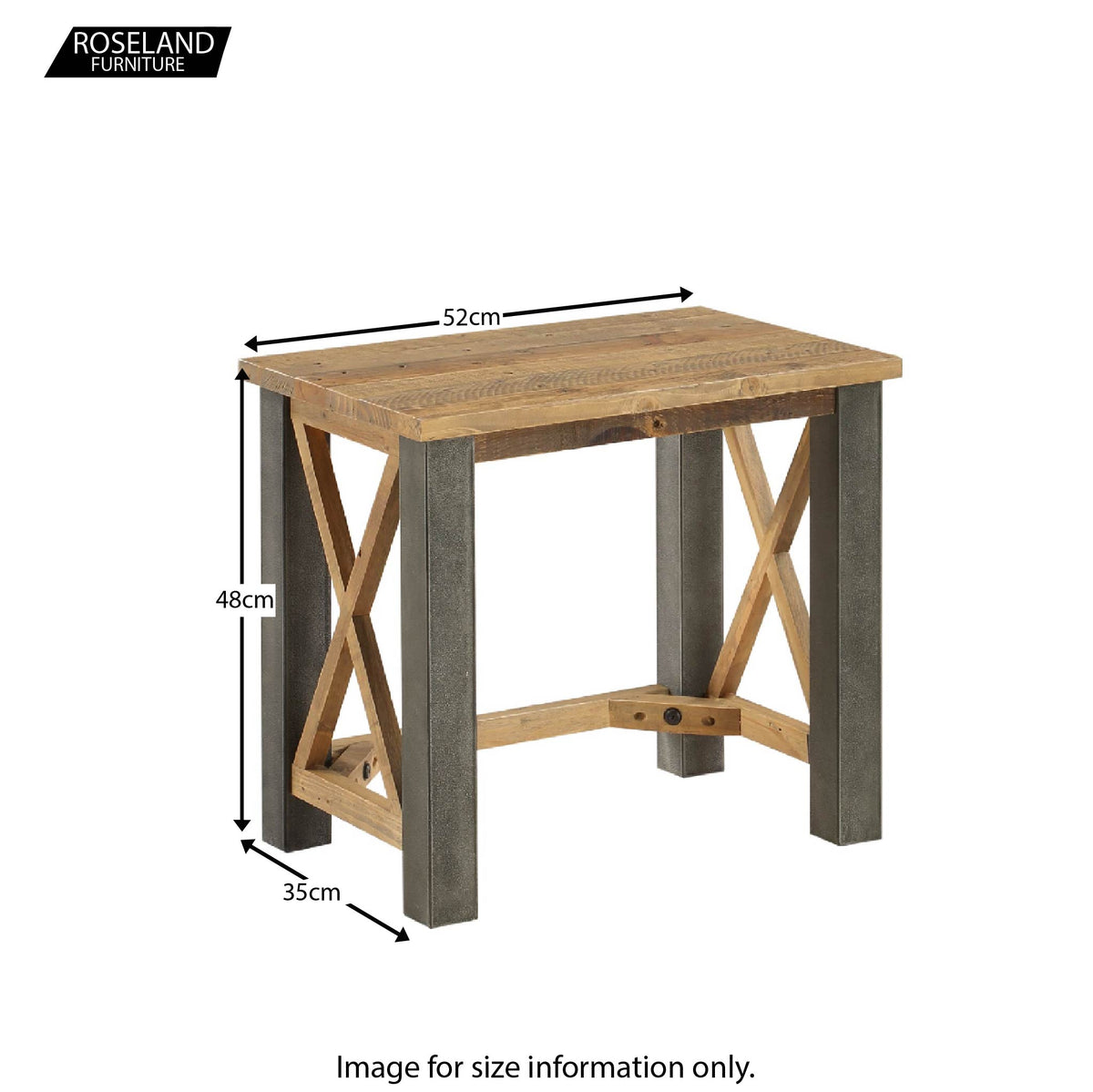 Dimensions for Urban Elegance Reclaimed Wood Side Lamp Table 48 x 52 x 35 cm