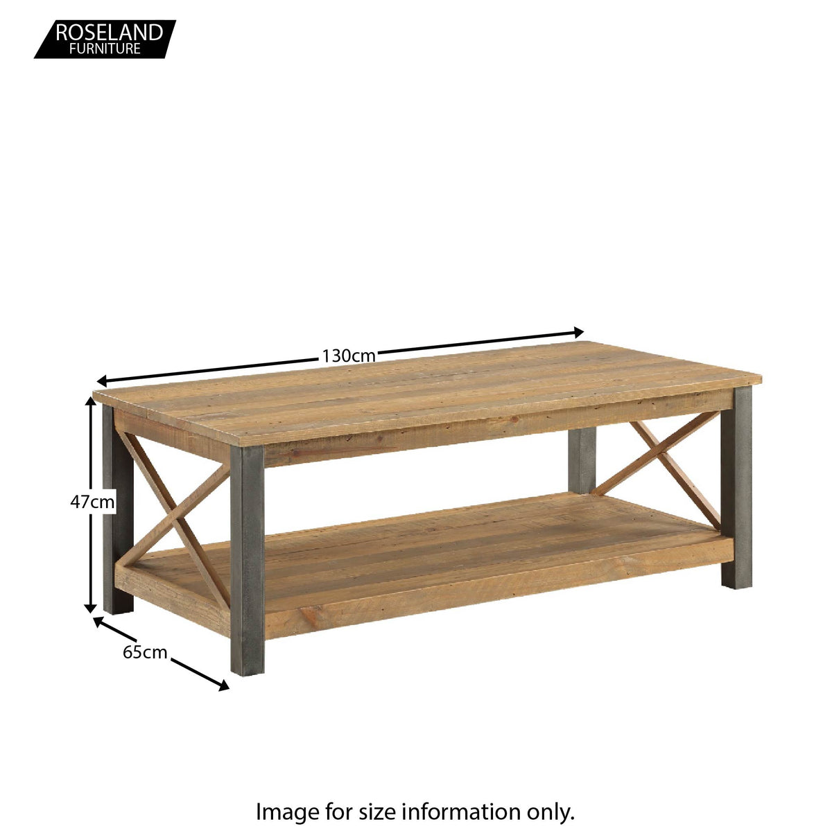 Dimensions for Urban Elegance Reclaimed Wood Extra Large Coffee Table  47 x 130 x 65 cm