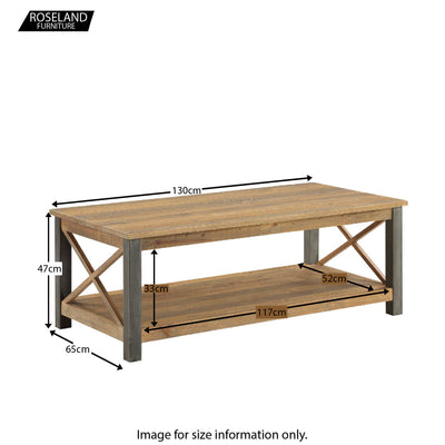 Urban Elegance Reclaimed Wood Extra Large Coffee Table - Size Guide