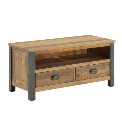 Urban Elegance Industrial Reclaimed Wood TV Stand on white background