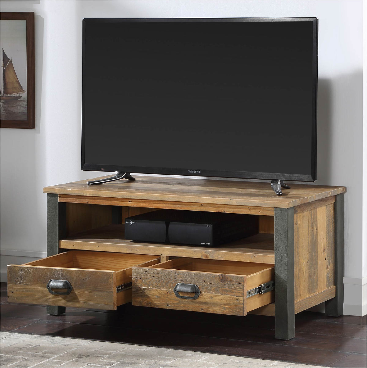 Open drawer view of Urban Elegance Industrial Reclaimed Wood TV Stand