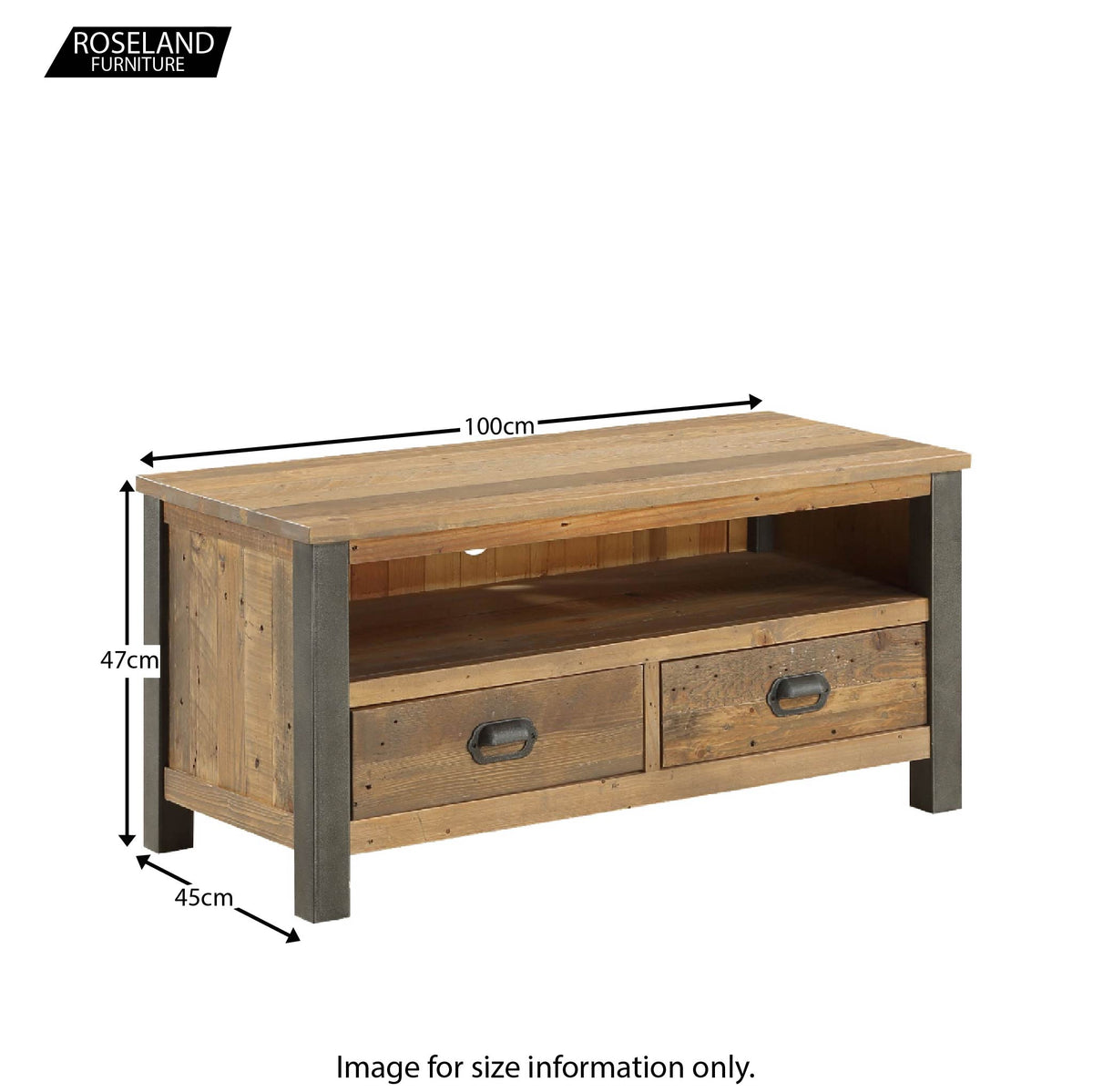 Dimensions for Urban Elegance Industrial Reclaimed Wood TV Stand  47 x 100 x 45 cm