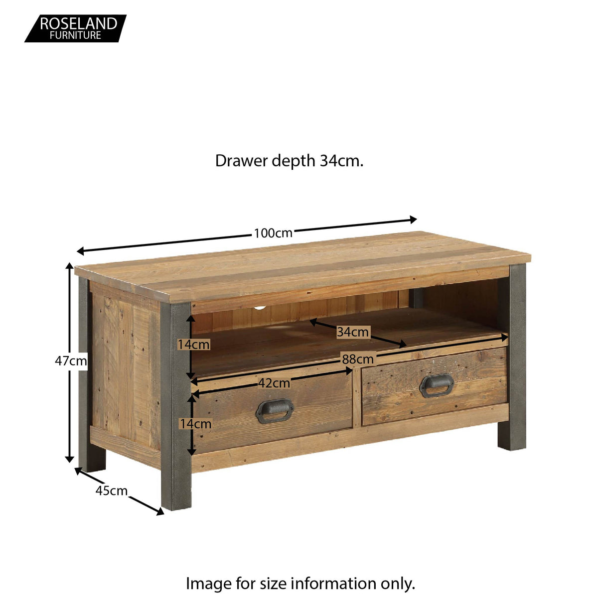 Urban Elegance Industrial Reclaimed Wood TV Stand - Size Guide