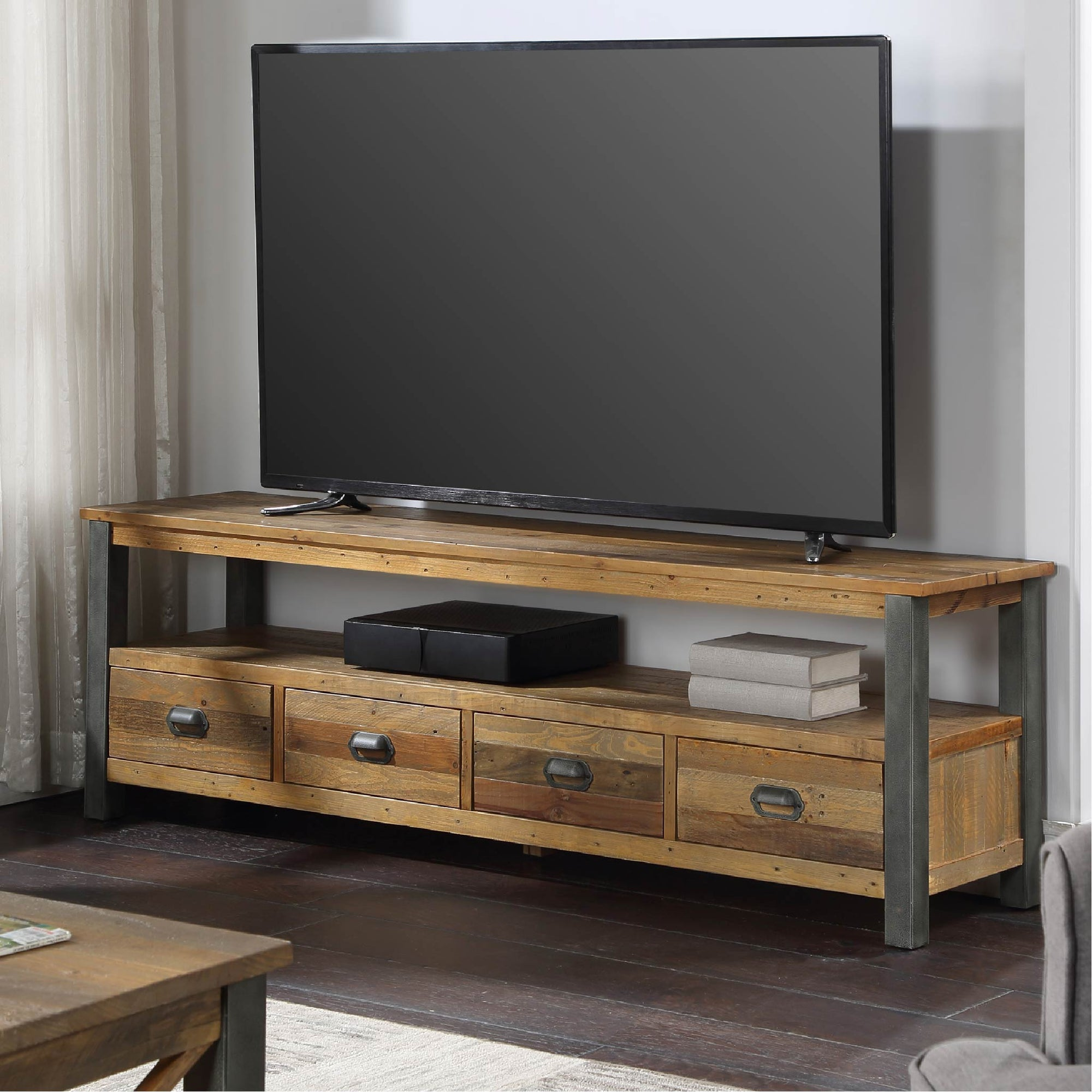 Urban Elegance Industrial Reclaimed Wood Extra Large TV Stand