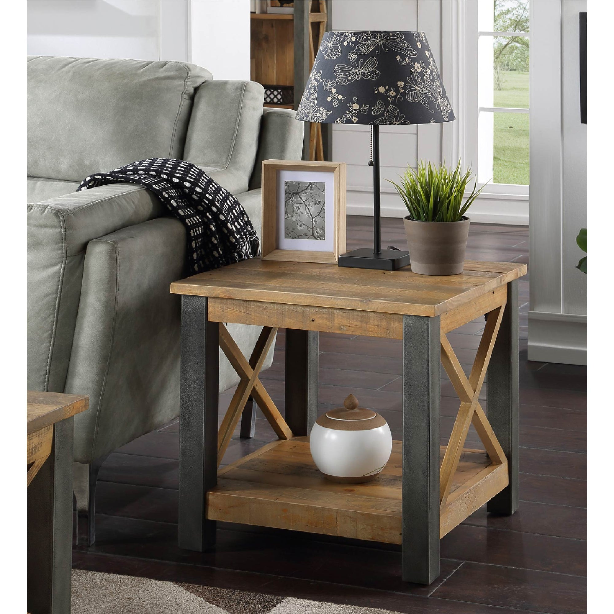 Urban Elegance Reclaimed Wood Side Lamp Table