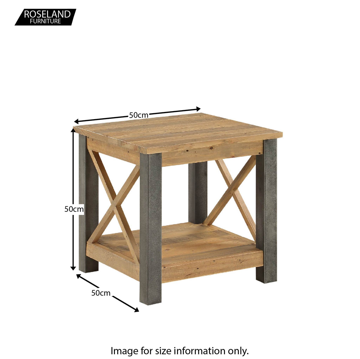 Dimensions for Urban Elegance Reclaimed Wood Side Lamp Table 50 x 50 x 50 cm