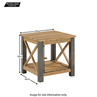 Urban Elegance Reclaimed Wood Side Lamp Table - Size Guide