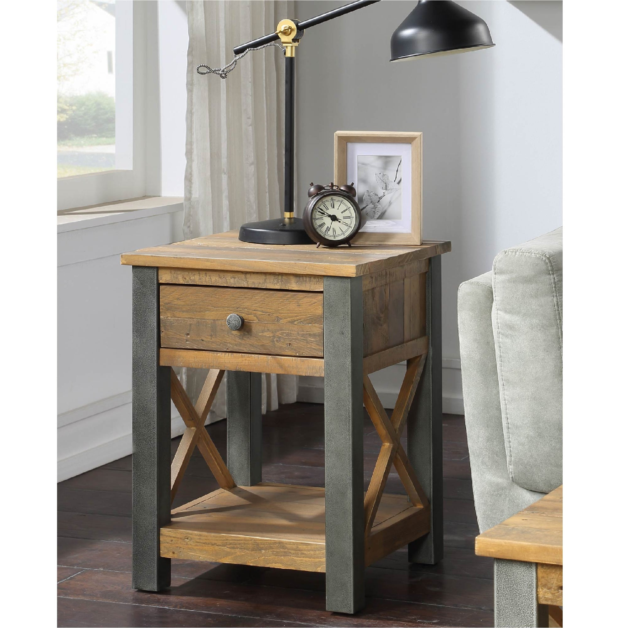 Urban Elegance Reclaimed Wood Lamp Table with Drawer
