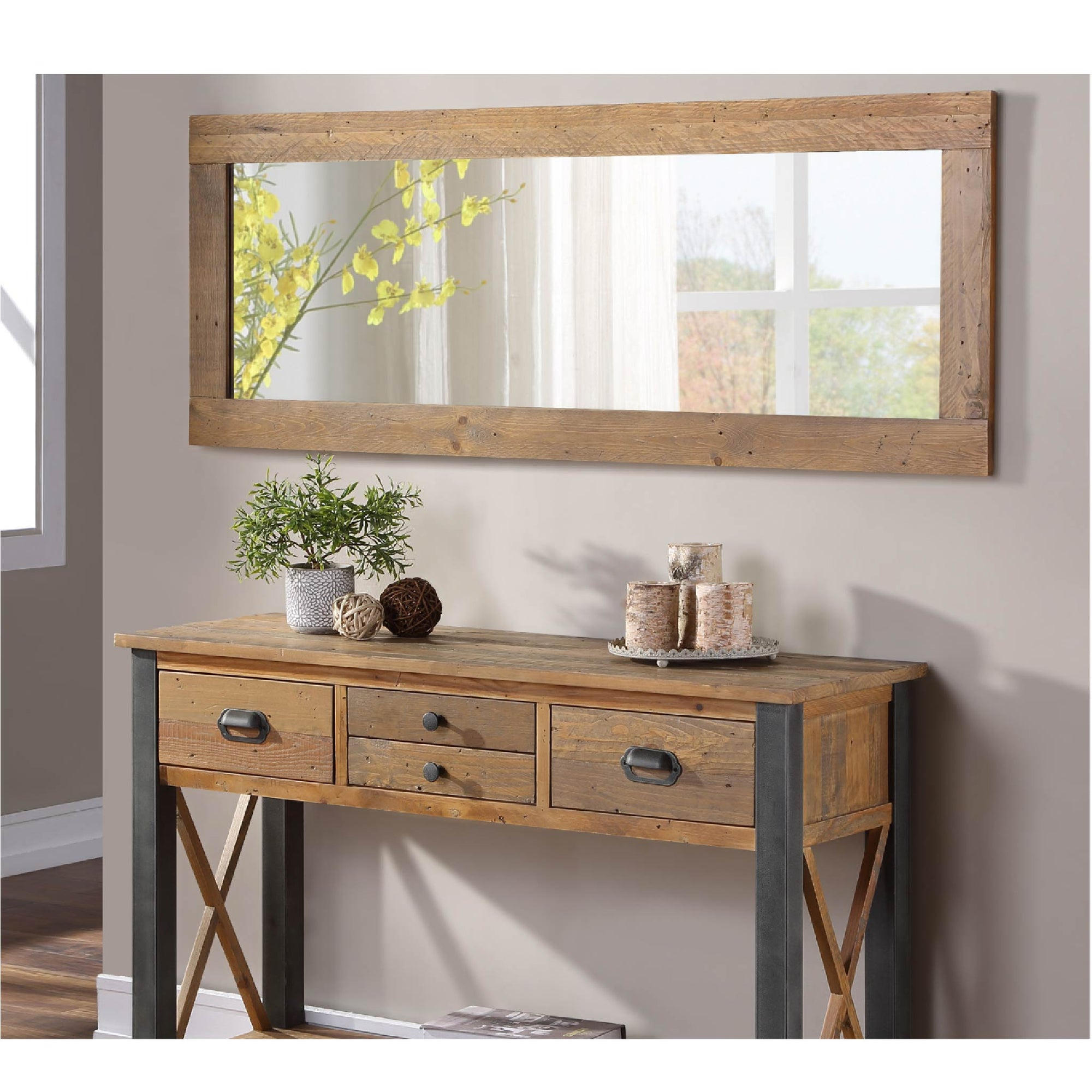 Horizontal view of Urban Elegance Reclaimed Wood Framed Large Mirror