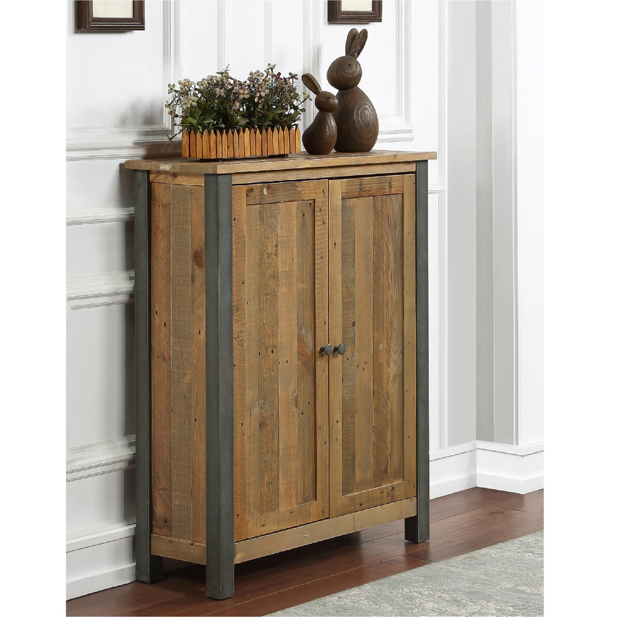 Urban Elegance Reclaimed Wood Shoe Storage Cupboard