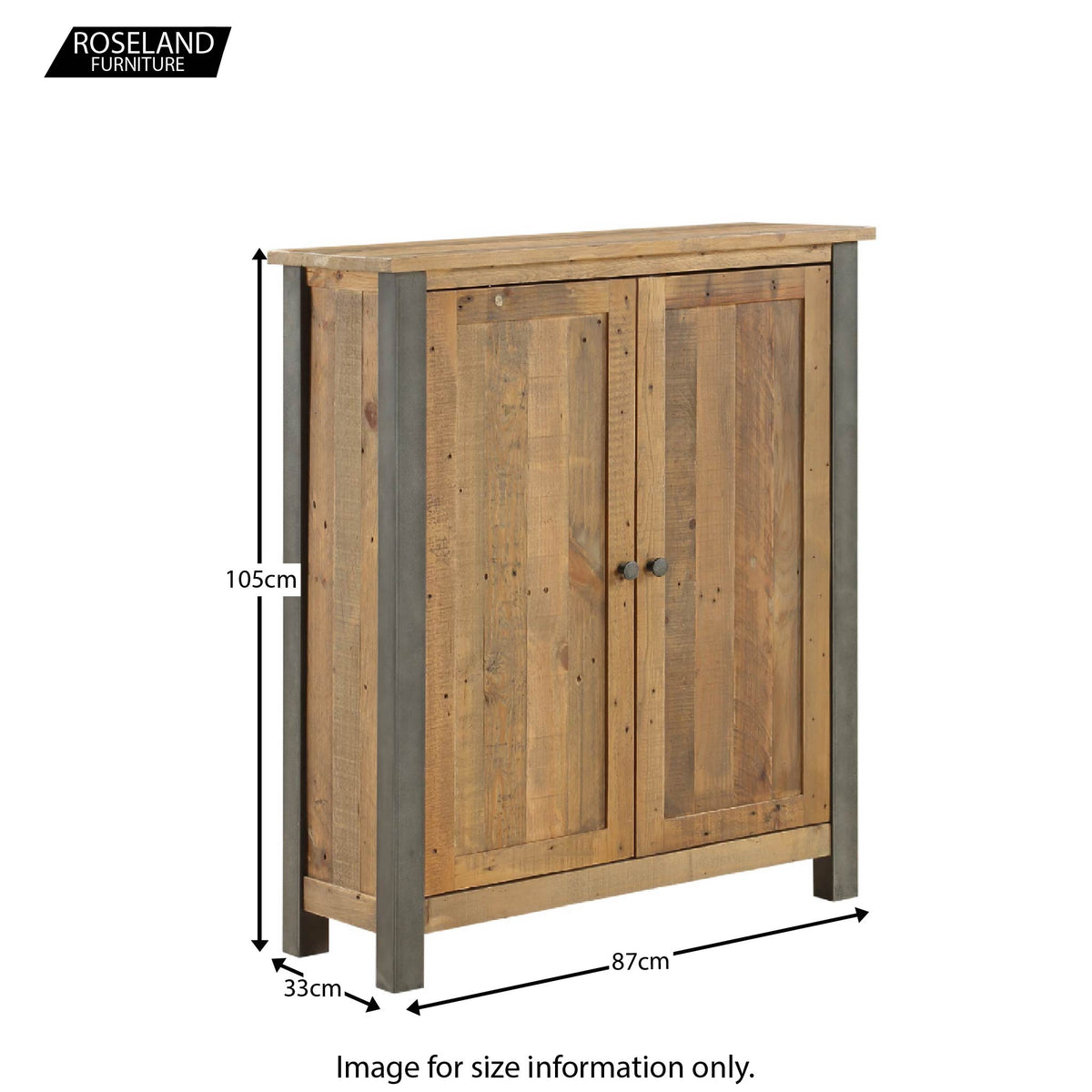 Dimensions for Urban Elegance Reclaimed Wood Shoe Storage Cupboard 105 x 87 x 33 cm