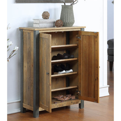 Internal view of Urban Elegance Reclaimed Wood Large Shoe Storage Cupboard