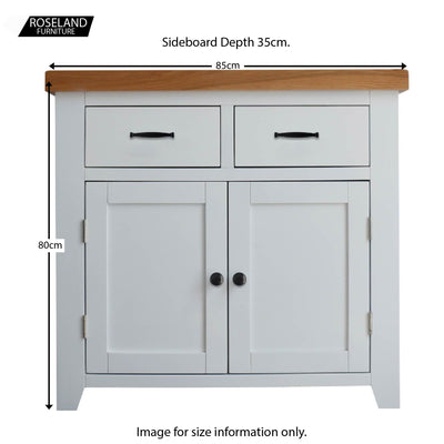 Dimensions of the close up of the horizontal metal drawer handle on the Chatsworth White 2 door Small Sideboard from Roseland Furniture