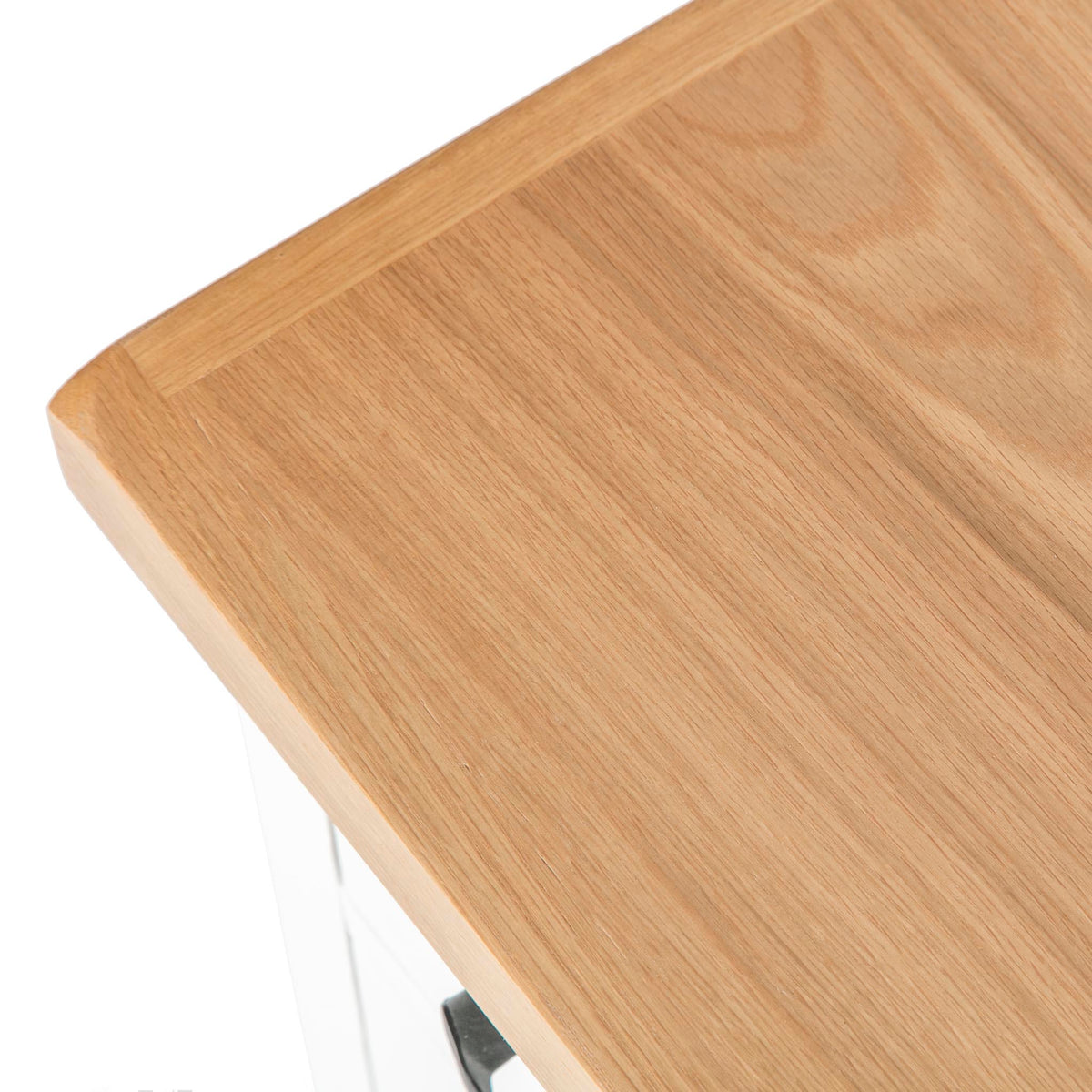 close up of horizontal metal drawer handle on the Chatsworth White Bedside Table from Roseland Furniture
