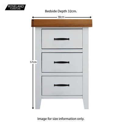 Chatsworth White Bedside Table - Size Guide
