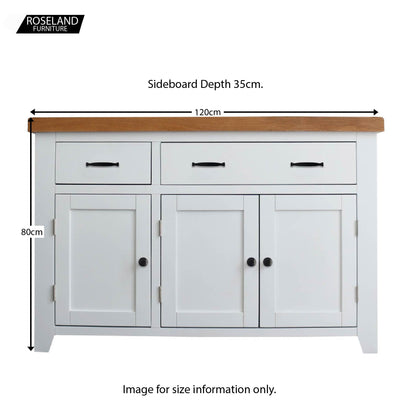 Dimensions of the Chatsworth White 3 door large Sideboard from Roseland Furniture