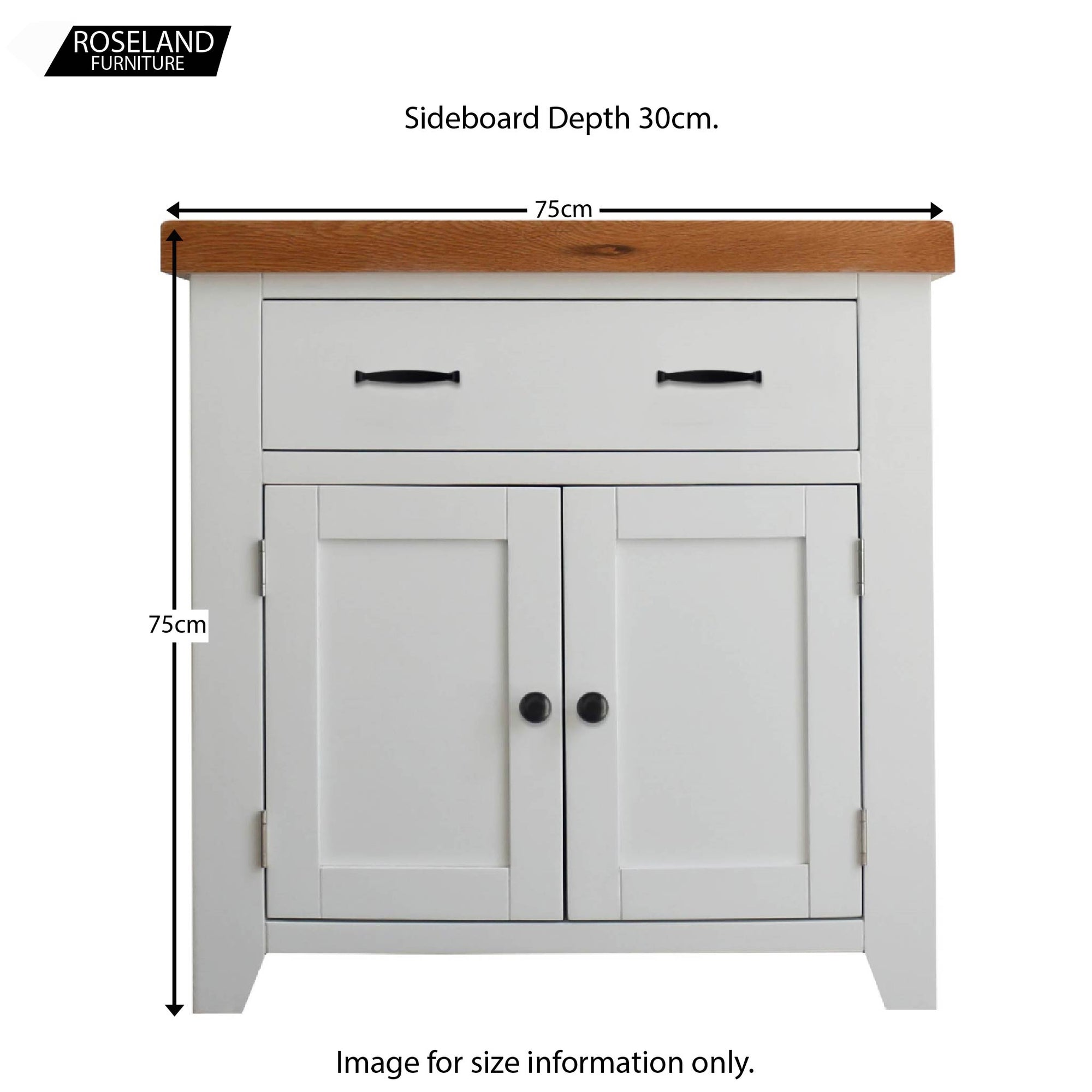 Living Room or Hallway Fully Assembled RoselandFurniture Chatsworth Blue Small Sideboard Cabinet with Drawers Contemporary Painted Solid Wood 2 Door Storage Cupboard with Oak Top for Dining Room