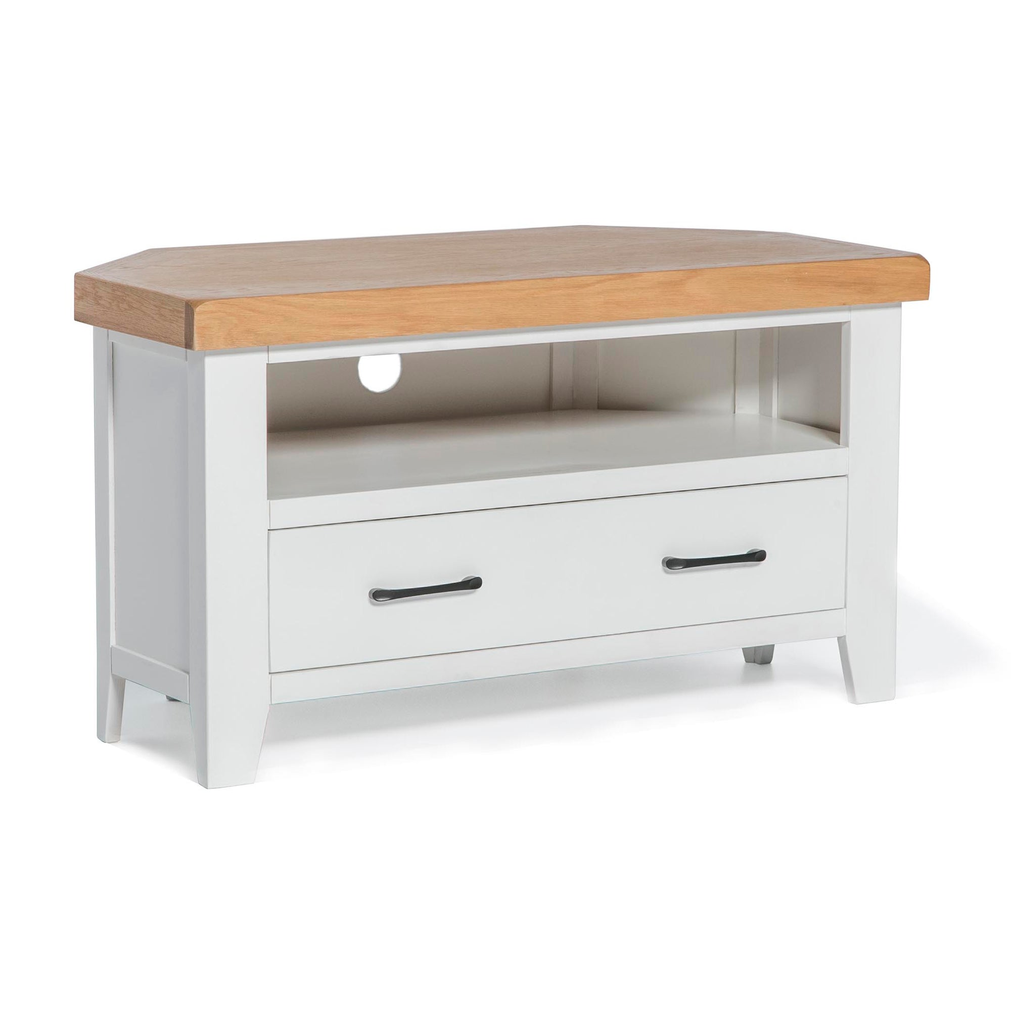 Chatsworth White 90cm Corner TV Stand by Roseland Furniture
