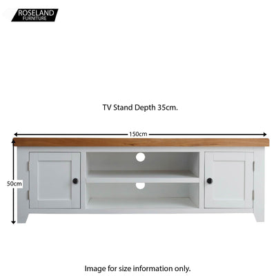 Dimensions for the Chatsworth White Extra Large 150 cm TV Stand from Roseland Furniture