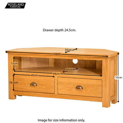 Roseland Oak Corner TV Stand - Size Guide