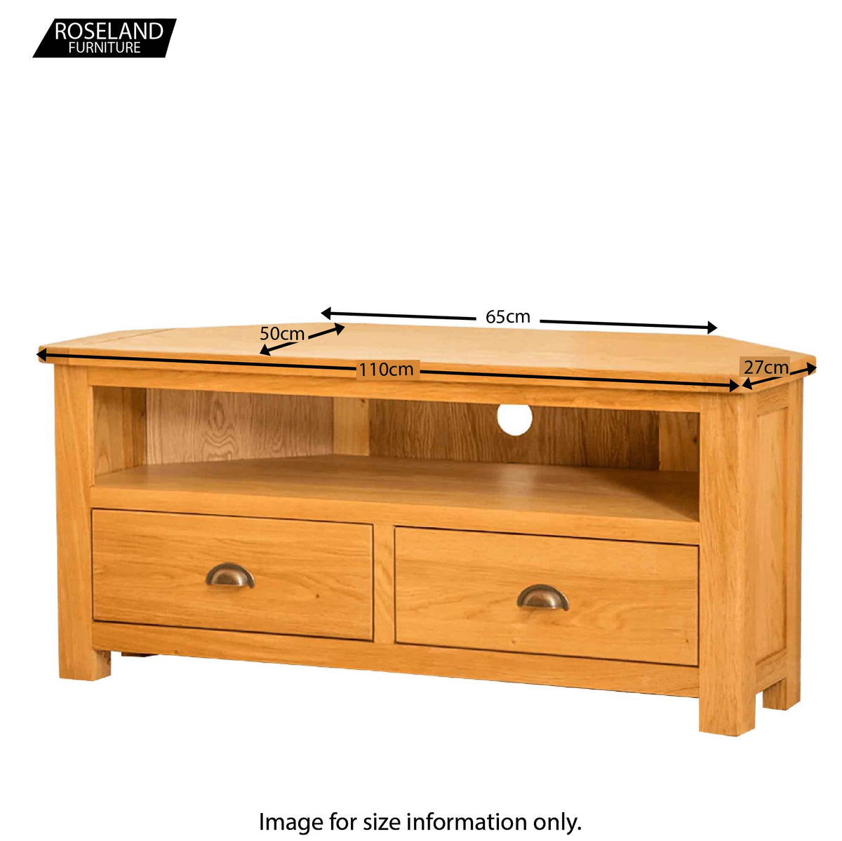 Roseland Oak Corner TV Stand - Additional Size Guide