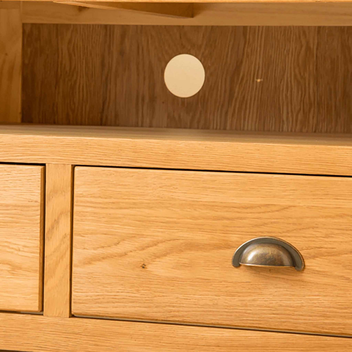 Close up of drawer - Roseland Oak Corner TV Stand