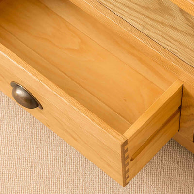 Roseland Oak Corner TV Stand with drawer open