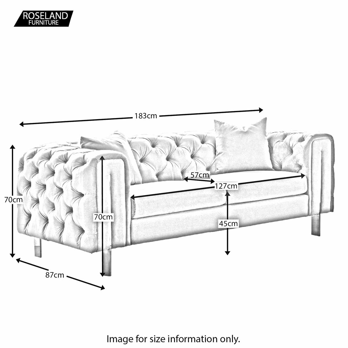 Ritz 2 Seater Sofa - Size Guide