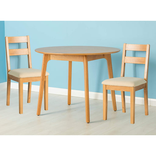 Nordic Oak Round Table Dining Set ( 2 Chairs )