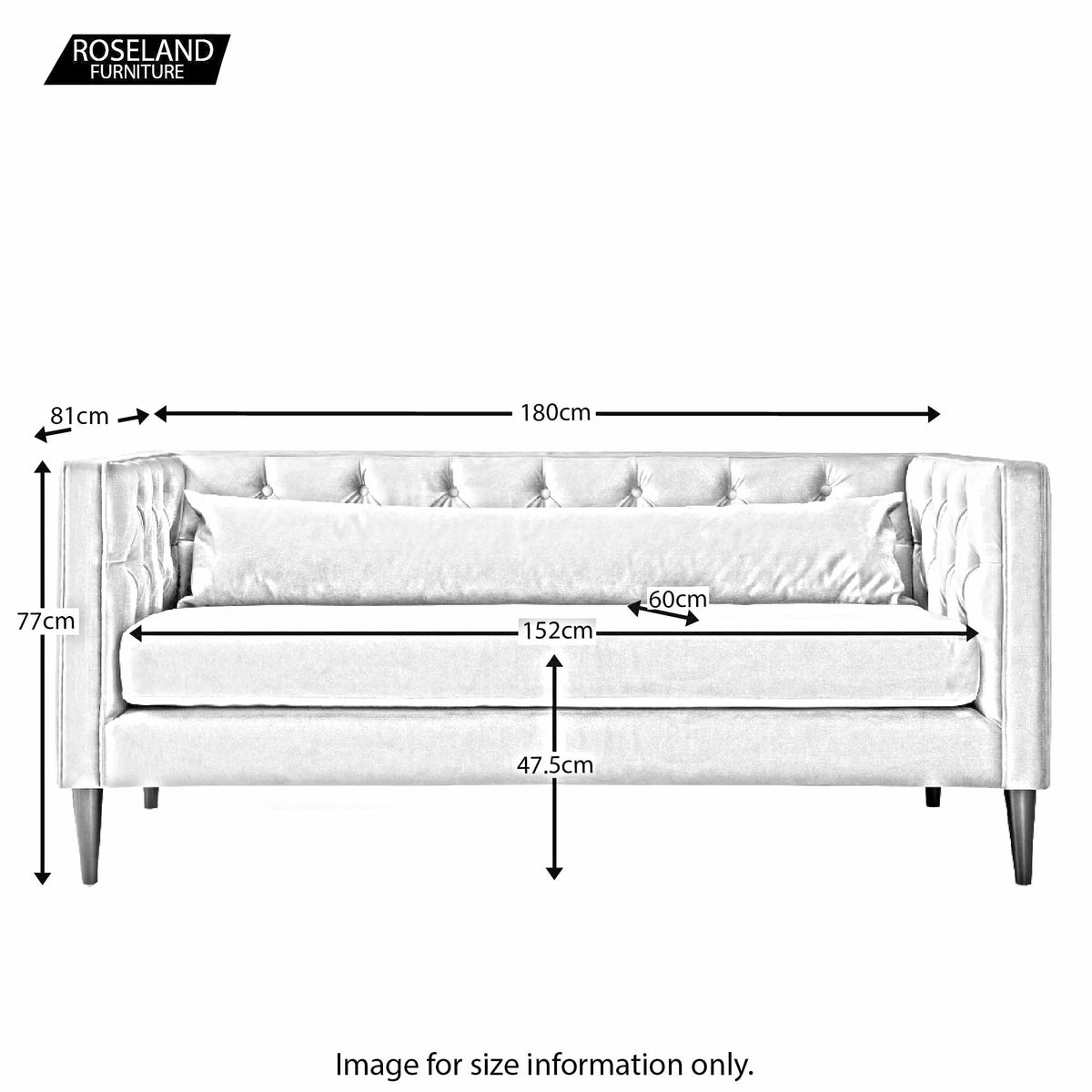 Savoy 2 Seater Sofa - Size Guide