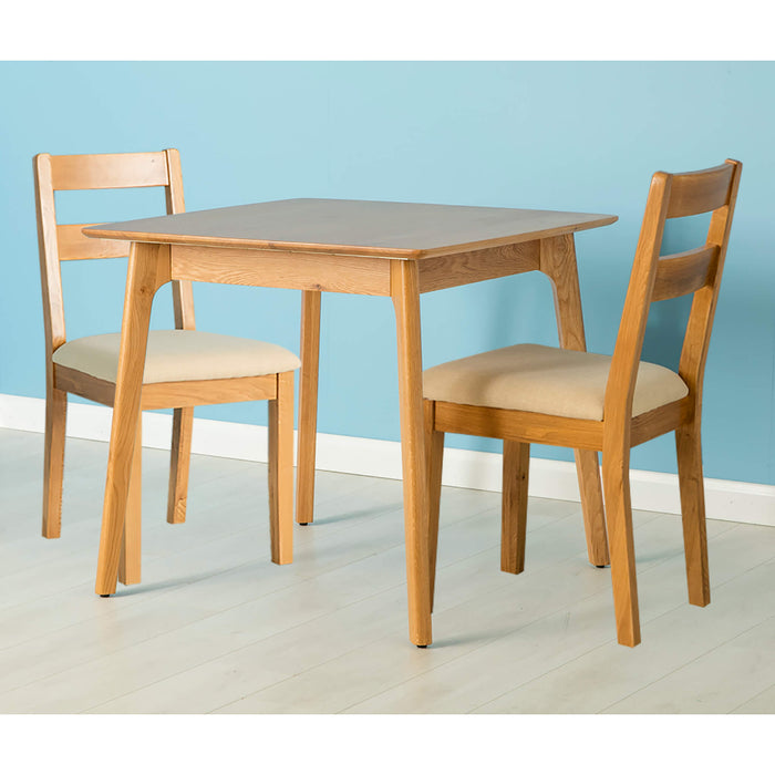 Nordic Oak 85cm Square Dining Set ( 2 Chairs )